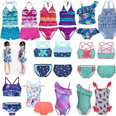 Girls 2PCS Tankini Swim Suit Swimwear Swimming Costume Beach Wear Ages 0-16 Yrs