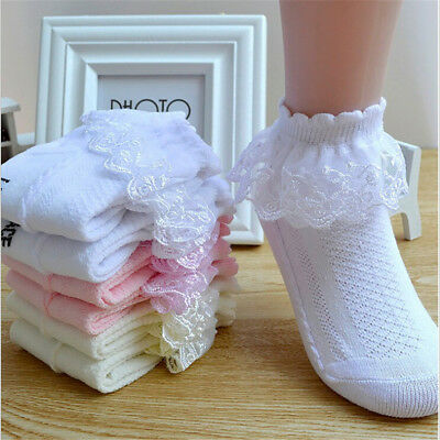 Summer Baby Girls Kids Toddler Socks Cotton Lace Princess Ankle Mesh SocksTA