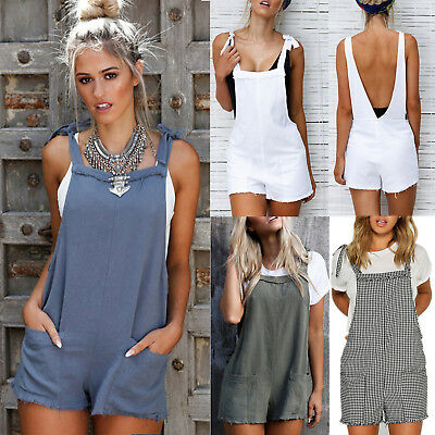 Womens Bib Pants Shorts Playsuit Sleeveless Casual Jumpsuit Romper Overalls