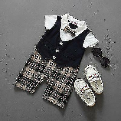 Newborn Baby Boy Clothes Christening Formal Party Bodysuit Outfit
