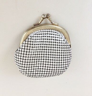 Vintage White Gold Glomesh Coin Purse