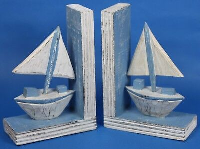 Boat   Bookends Hand Made carved from wood Nautical theme