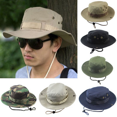 AU Mens Cap Military Camping Hunting Outdoor Wide Brim Camo Trilby Sun Bush Hat
