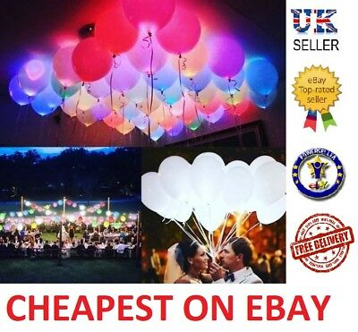 LED Balloons Light Up PERFECT PARTY Decoration Wedding Kids Birthday UK 48 Pack