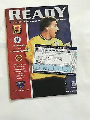 1999 Rangers v Stenhousemuir Official Programme Mint + Ticket Scottish Cup