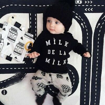 Autumn Winter Toddler Kids Baby Boys Letter Print Tops+Print Pant Outfit Set NEW
