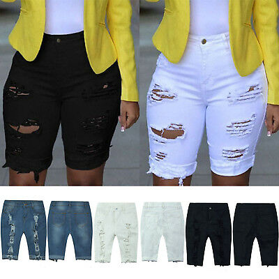 Womens High Waisted Ripped Hole Denim Shorts Jeans Summer Distressed Hot Pants