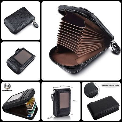 RFID Blocking Genuine Leather Zipper Credit Card Holder Compact Wallet Black New