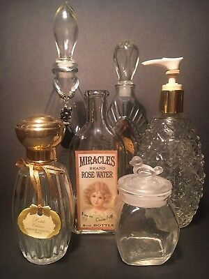 Mixed Lot 6 Of Collectable Vanity Perfume Lotion Bottles Jar Avon