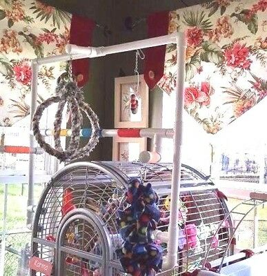 """Custom 3/4"""" PVC Parrot Perch  Stand-Play Area for Domed Cages FREE SHIPPING"""