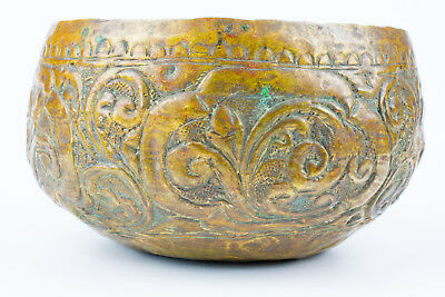 Antique old 19thc  Metal brass bowl Hand made Southern Thai Art 001