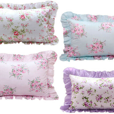 Floral Ruffled Pillow Case / Sham - Shabby Chic Cottage Country Vintage Style