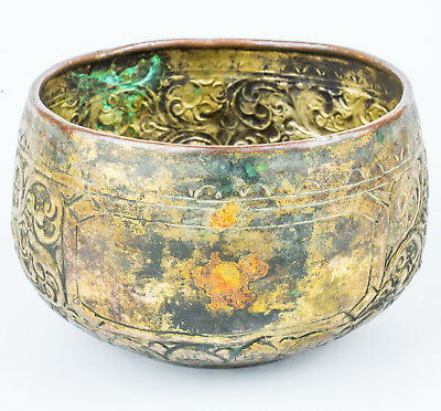 Antique old 19thc  Metal copper bowl Hand made Southern Thai Art 002