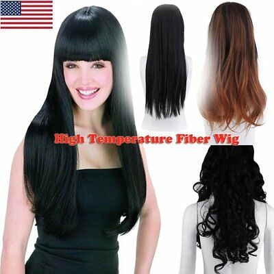 Hot Long Hair Full Wig Ombre Two Tone Heat Resistant Synthetic Fibre Wigs Thick