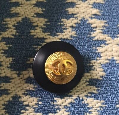 Authentic CHANEL Navy Blue And Gold CC Logo Button 1""