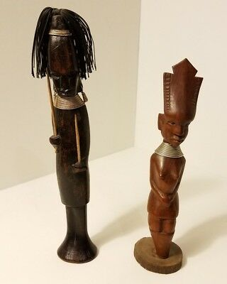 Lot of 2 African Carved Wood Figurines with Metal Decorations