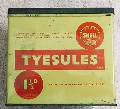 "Vintage Shell Oil Co ""Tyesules"", cigar liter fluid counter display box, Pre-WW2"