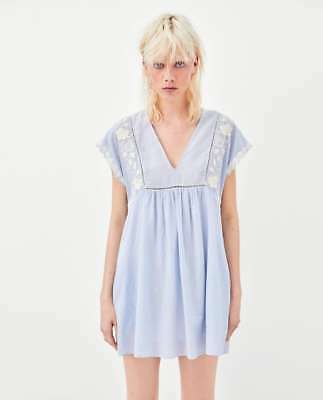 Zara SS18 Blue & White Stripe Embroidered Jumpsuit Dress Size M Medium BNWT