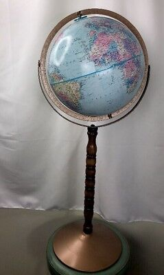 "Vintage 12"" Replogle World Nation Globe 33"" tall on Wooden and Metal Stand VGUC"