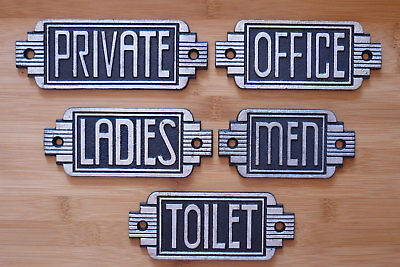 Door Signs Art Deco Toilet Men Ladies Office Private  Antique Effect Cast Iron