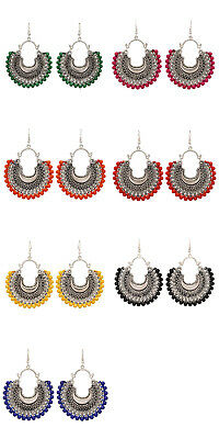 Jwellmart Indian Afghani Style Oxidized Silver Colored Beads Fashion Earrings