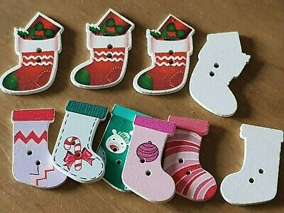 10 WOODEN CHRISTMAS STOCKING BUTTONS EMBELLISHMENTS Various FROM 30MM CRAFTS