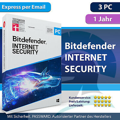 Bitdefender Internet Security 2019 für Windows 3 PC 1 Jahr | inkl. VPN