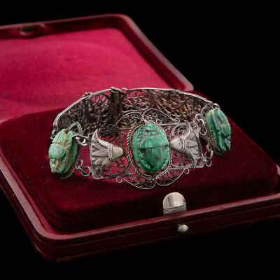 Antique Vintage Nouveau Sterling Silver Egyptian Filigree Scarab Bead Bracelet