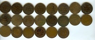 Canada 1859-1919 Large Cents  Nice Group Of 22 Coins