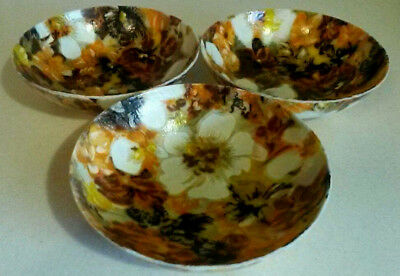Vintage 3 Mod Fiberglass Bowls with colorful Floral motif/many uses/really nice