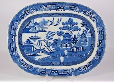 Blue Willow Platter Early 19thC Staffordshire Stone China Combed Back