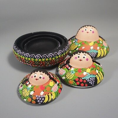 Vintage Hand Painted Nesting Doll Dishes - Clay Pottery Set of 3