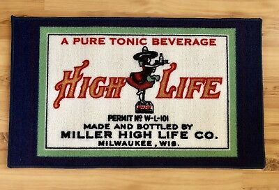 "Miller High Life Beer College Decor Bedside / Welcome Mat (30""x18"") RARE! NEW."