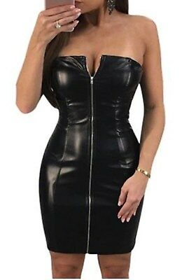 Latex Look Sexy Black Dress Zipper Front Bandeau Style Elasticated Top