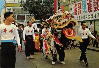 The Lion Dance, Chinese New Year Parade Celebrations ca 1960s Vintage Postcard
