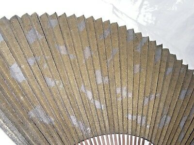 Antique Vintage Japanese Chinese Fan Decorate Gold Speckles Silver Brush Strokes