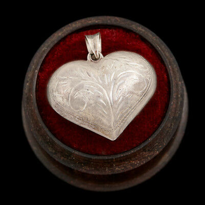 Antique Vintage Deco Retro Sterling Silver Repousse Puffy Heart Charm Pendant