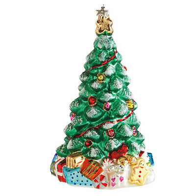 """Classic CHRISTMAS TREE glass Ornament beautiful 6"""" with glitter accents New"""