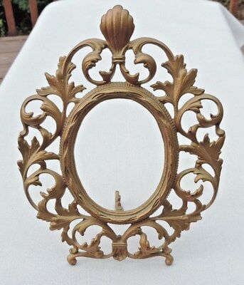"Antique Cast Iron Brass Art Nouveau Ornate Oval Easel Picture Mirror Frame 11"" H"
