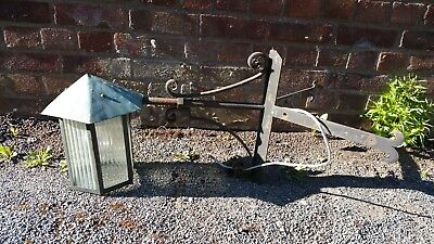 Vintage Arts & Crafts Style Wrought Iron & Copper Corner Lamp