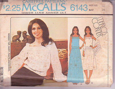 6143 McCALLS Marlo's Corner c.1978 -  CAMI TOP SKIRT PANTS SHAWL - Sz 12 B 34""
