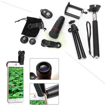 Universal Mobile 10in1 Lens Phone Camera Cell Clip Optical Telescope Kit 8X Zoom