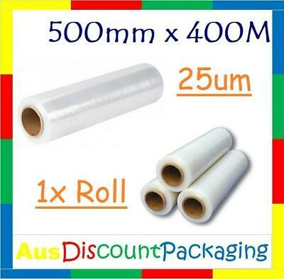 """1x Hand Stretch Film Pallet Wrap 500mm x 400m Meter Wrapping Clear 25U 2"""" Core"""