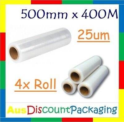 """4x Roll Stretch Film Hand Pallet Wrap 500mm x 400m Wrapping Clear 25U 2"""" Core"""