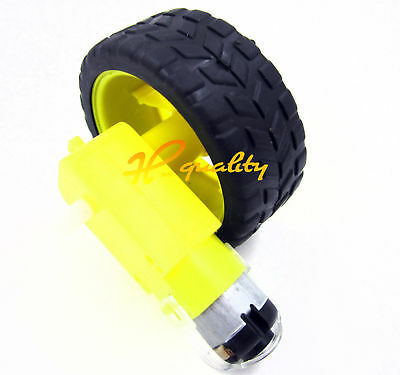 Arduino Smart Car Robot Plastic Tire Wheel with DC 3-6v Gear Motor for Robot -UK