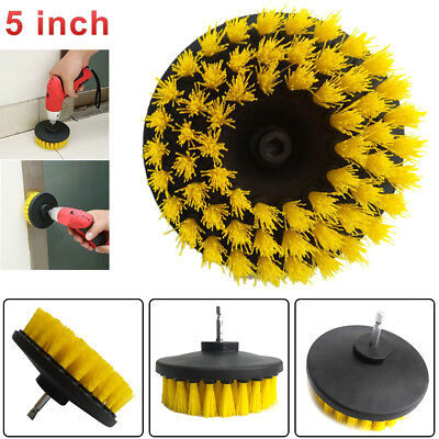 "5"" Drill Brush For Car Carpet Wall Bathroom Tub Tile Cleaning Yellow Medium Duty"