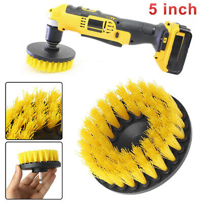 5 Inch Drill Brush For Car Carpet Wall And Tile Cleaning Yellow Medium Duty USA