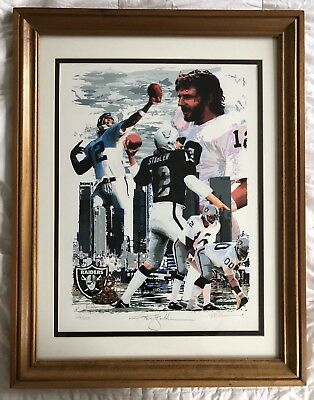 """a79f06e41 Oakland Raiders Ken Stabler """"The Snake"""" Autographed and Framed Serigraph  Poster"""
