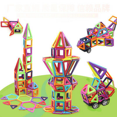 113Pcs Kids DIY 3D Magnetic Blocks Multicolour Construction Building Toy Puzzle