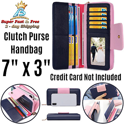 Womens Large Capacity Multi Card Holder Two Fold Long Zipper Clutch Wallet Purse
